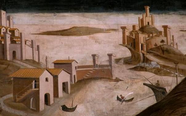 Atri (Te), cattedrale di Santa Maria Assunta, affreschi dell'abside opera di Andrea De Litio, dettaglio di una scena con raffigurazione di un porto, forse il porto di Cerrano