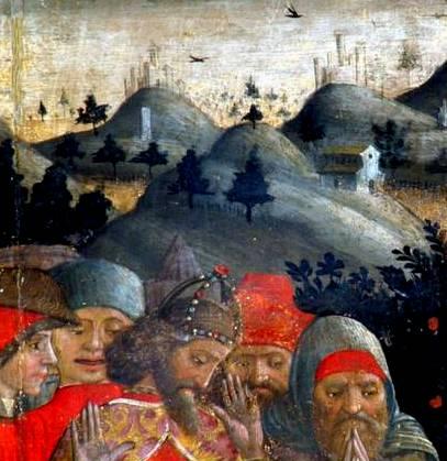 Mutignano (frazione di Pineto, Te), chiesa di San Silvestro Papa, la tavola di Andrea De Litio che raffigura la vita di Papa Silvestro, tavoletta laterale (rubata nel 2006), dettaglio del paesaggio con borghi e castelli
