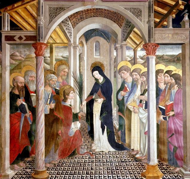 Atri (Te), cattedrale di Santa Maria Assunta, affreschi dell'abside opera di Andrea De Litio, Commiato di Maria dagli Apostoli