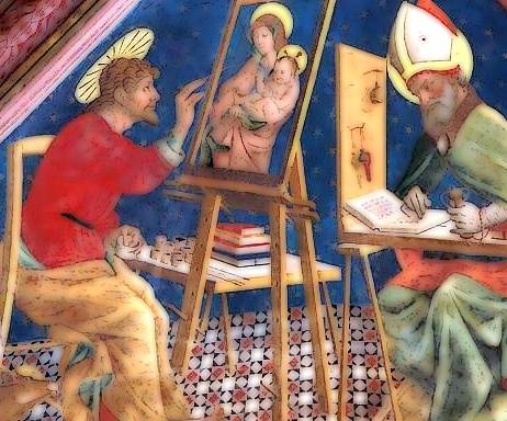 Atri (Te), cattedrale di Santa Maria Assunta, affreschi dell'abside opera di Andrea De Litio, la volta con i quattro Evangelisti, qui San Luca con il bue e l'autoritratto di Andrea De Litio