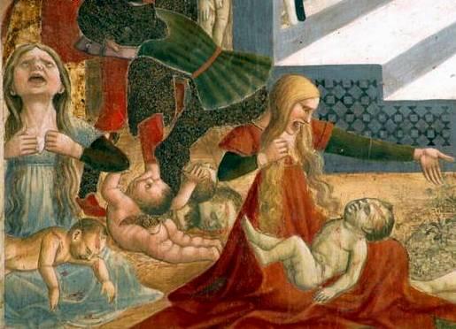 Atri (Te), cattedrale di Santa Maria Assunta, affreschi dell'abside opera di Andrea De Litio, la Strage degli Innocenti, dettaglio