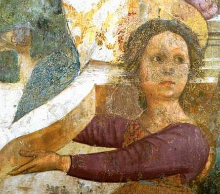 Atri (Te), cattedrale di Santa Maria Assunta, affreschi dell'abside opera di Andrea De Litio, Incoronazione di Maria